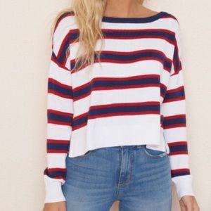 Oversized Striped Crop Pullover Sweater Garage